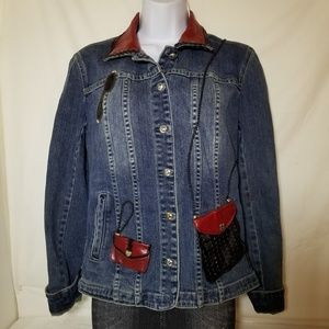 Brighton Denim Red Leather Jacket Sz M